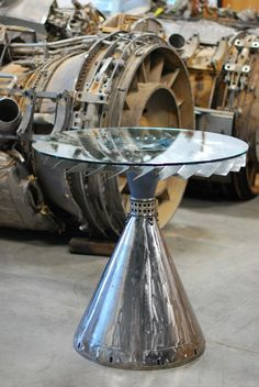 High Top Table From Reclaimed Jet Engine Parts by AeroArtShop