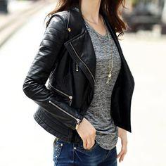 jaqueta couro preto feminina - Pesquisa Google