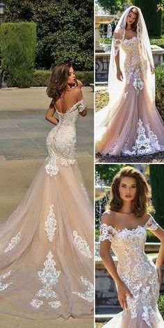 sexy wedding luxury long sleeves evening appliques mermaid stunning sexy Wedding Dress off shoulder Paige bridal dress sold by shuiruyandresses on Storenvy Stunning Wedding Dresses, Wedding Dress Trends, Dream Wedding Dresses, Bridal Dresses, Wedding Gowns, Party Dresses, Dresses Dresses, Wedding Ceremony, Evening Dresses