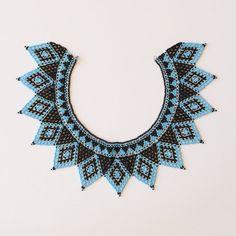Vintage Collar con cuentas azul y negro