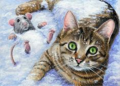 aceo original painting kitten cat mouse mice snow winter christmas season