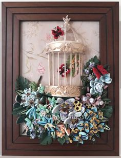 Golden Paper Cage with Quilled Exotic Flowers (Passion flowers, medinilla magnifica, star of Bethlehem, celosia, tropical orchids...butterflies...tropical leaves from www.liagriffith.com) ~ January 2018, handmade by Eliane Tanassi ♧ The Quilling Fairies ♧, first quilling artists in Lebanon!  #thequillingfairies #elianetanassi #quillinglebanon #lebanesedesigners #lebanoncrafts #quilling #paperquilling #quillingflowers #quillingart #paperflowers #flowerartlebanon #flowerarrangement…