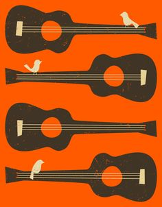 Poster   BIRDS ON A GUITAR STRING von Jazzberry Blue   more posters at http://moreposter.de