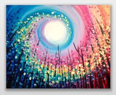 So cool! Rainbow swirled sun colorful tree painting. Easy beginner painting idea.