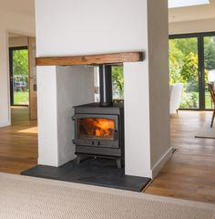 Wood Burner Fireplace, Open Fireplace, Fireplace Design, Fireplace Ideas, Fireplace Kitchen, Log Burner Living Room, Open Plan Kitchen Living Room, Living Room With Fireplace, Living Rooms