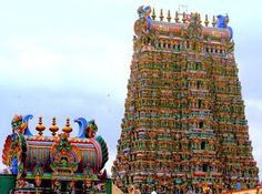 Meenakshi Temple is a historic Hindu temple located on the southern bank of the Vaigai River in the temple city of Madurai, Tamil Nadu,India. Indian Temple Architecture, Colour Architecture, Historical Architecture, Temple India, Hindu Temple, Madurai, Khajuraho Temple, Tower Of Power, Sanctum Sanctorum