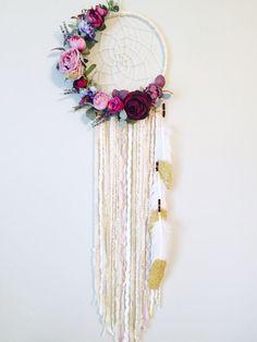 Flores atrapasueños atrapasueños Chic Boho florales colgando