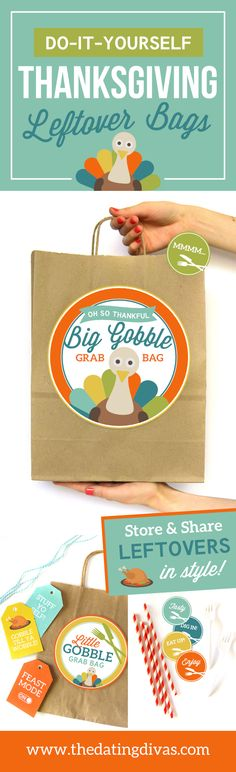 DIY Thanksgiving Leftover Bags!!! How fun is this?! FREE Thanksgiving Printables from The Dating Divas