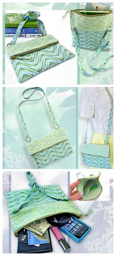 One of the best fold over zipper purse patterns.  Nice proportions, excellent photo instructions and the shoulder strap added at the fold point is a nice touch too. FREE bag sewing pattern.