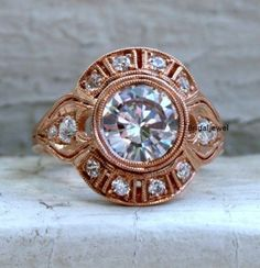 1-48Ct-Brilliant-Diamond-Bezel-Engagement-Rose-Gold-Ring-925-Sterling-Silver