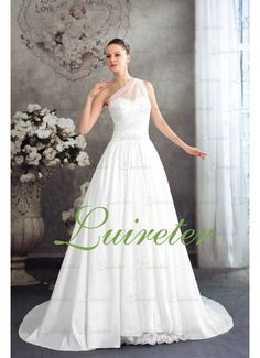This one shoulder princess wedding dress is in high quality. All the details are hand made. Simple but modest. The price is also affordable. It will be a good choice to own such a simple but modest wedding dress.