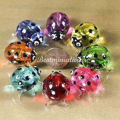 Blown+Glass+Animals | ... -Ladybugs-Ladybird-Hand-Blown-Glass-Animal-Miniature-Figurine-Gift