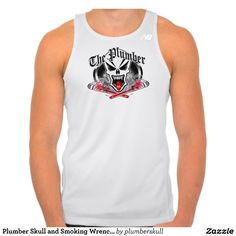 Plumber Skull and Smoking Wrenches Tee Shirts Tank Tops