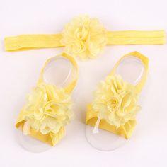 Newborn Baby Satin Flower Headband & Barefoot Sandal Sets