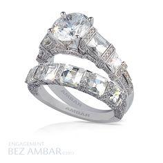 Engagement and wedding band set with Blaze® cut diamonds #diamond #jewelry www.bezambar.com