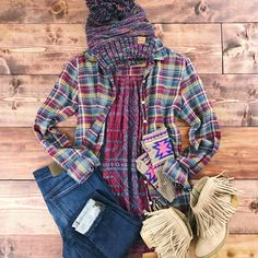 therollinj.com Spice up a drab winter wardrobe with this gorgeous Johnny Was Plaid top with detailed embroidery on the back. Fall fashion. Winter fashion. Boho chic. Western vibes.