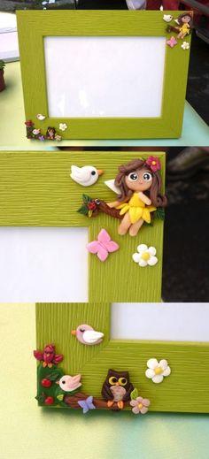 Frame with fairy of the trees and owl in fimo handmade - Cornice con fata dei boschi e gufo in fimo fatto a mano