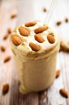 Almond Butter Maca Madness Smoothie: 2 frozen bananas ,1 cup unsweetened almond milk, 1 tablespoon almond butter, 1 heaping tablespoon maca powder, ½ teaspoon pure vanilla extract. #Smoothie #Almond #Maca