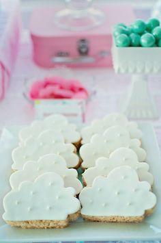 Cloud cookies at a Hot Air Balloon Baby Shower via Kara's Party Ideas KarasPartyIdeas.com (22)