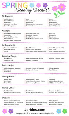 Make your spring cleaning less of a chore with this thorough room by room spring cleaning checklist infographic.