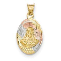 14k Tri Color Gold Sagrado Corazon De Jesus Christ Oval Charm Pendant Unisex