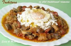 Romanian stew with polenta (use cheatmeat) Romanian Food, Polenta, Stew, French Toast, Pork, Meat, Breakfast, Recipes, Ajouter