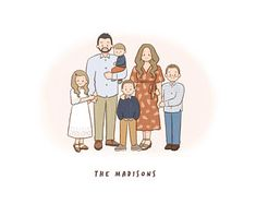Excited to share this item from my shop: Custom family portrait/ Digital portrait/ Custom illustration/ Birthday gift/ Gift for her/ Digital family drawing/ Gift ideas/ Anniversary Family Picture Drawing, Family Picture Cartoon, Family Portrait Drawing, Family Picture Poses, Family Posing, Couple Posing, Family Portraits, Family Pictures, Couple Shoot