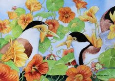 "Saatchi Art Artist Graeme Whittle; Painting, ""Lapwings with Nasturtiums"" #art"