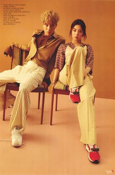 GQ Magazine's April issue features pictorials of SM Entertainment groups SHINee and Red Velvet members Taemin and Irene, respectively. Exo Red Velvet, Red Velvet Irene, Korean Couple Photoshoot, Photoshoot Pics, Red Velvet Photoshoot, Onew Jonghyun, Gq Magazine, Fashion Couple, Seulgi