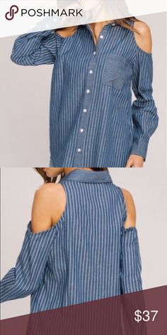 93c89c805826b2 Striped Denim Cold Shoulder Top Striped Denim Cold Shoulder Top listicle  Tops Button Down Shirts