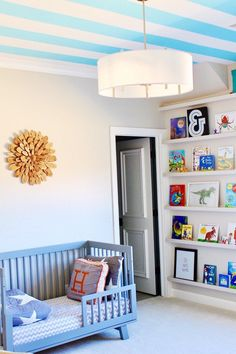 Modern Bedroom Ideas for Boys Affordable tips for decorating your little boy's bedroom. Kids decor. Kids bedroom ideas. Kids bedroom decor. Ceiling stripes. Boy Nursery. Nursery Ideas. Nursery decor