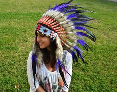 Indian Warbonnet Purple and Shinning dark green  Native American Feather Headdress 30 inch / 75 cm $64.99 via @shopseen www.theworldoffeathers.com