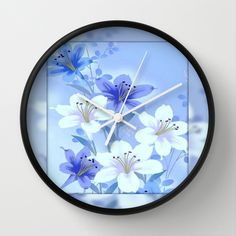 Periwinkle Mirror Floral Wall Clock by Judy Palkimas