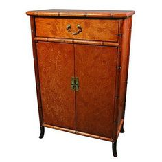 Oriental Furniture Burl Wood Shoe Cabinet