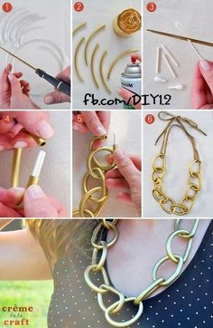 Looking for a stylish DIY necklace tutorial? Here are 25 of the best DIY necklaces. Those who love arts and crafts projects will surely be interested in Necklace Tutorial, Diy Necklace, Necklace Ideas, Gold Necklace, Necklace Chain, Collar Necklace, Fashion Diva Design, Jewelry Crafts, Handmade Jewelry