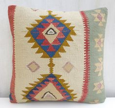 Kilim Pillow Cover Ethnic Decorative Throw by PillowTalkOnEtsy, $48.00
