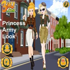 Are you a huge fan of fashions? 👗👗👗 You know Princess Army has a gorgeous look 👒😍👒 Why don't you try to do makeup based on her look in Princess Army Look? There are makeup, clothes and hairdos for you to do. So you will be very busy. Have fun playing Princess Army Look! Play it now 👗💄😍>><<😍👗💄 Tags: #dressup #barbie #princess #friv #girls