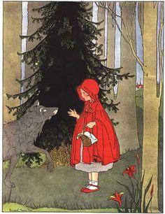 Margaret Evans Price- Little Red Riding Hood fairy tale illustration Charles Perrault, Vintage Fairies, Fairytale Art, Alphonse Mucha, Children's Book Illustration, Fairy Tale Illustrations, Food Illustrations, Botanical Illustration, Illustrators