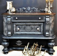 Painted in a Custom Color called Steel. Very Deepest of Grey with Silver Highlights. Nautical Furniture, Eco Furniture, Victorian Furniture, Chalk Paint Furniture, Distressed Furniture, Hand Painted Furniture, Recycled Furniture, Handmade Furniture, Furniture Makeover