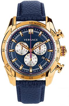 $1,895, Navy Leather Watch: Versace V Ray Gold Tone Navy Chronograph Watch. Sold by Lord