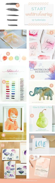 Some of watercolour tutorials are done using the computer while others are done with paint and brush in hand. I tried to find some that start with the basics to others that are a bit more advanced, but still doable for beginners.