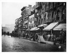 Street Scenes on a bustlingstreet in the  Lower East Side in 1896  NYC