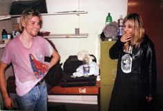 "Kurt and Kim Gordon (Sonic Youth) wearing Nirvana t-shirt  ""He was very self-destructive. I mean, anyone who thrashes around and throws himself into a drum kit every night… I think he wanted to alienate everyone around him. At some point he said, ""I want to be rich and famous."" Maybe he just wanted to be rich. He couldn't deal with the fame, though. I don't think it made him literally psychotic, but it alienated him from the community that he came from"" - Kim Gordon"