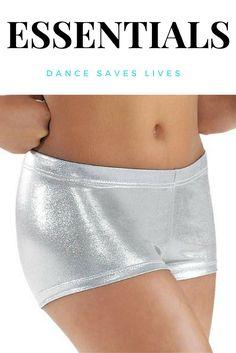 Shiny metallic dance booty shorts.