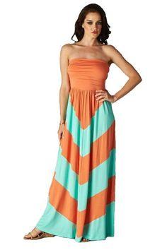 Charm Your Prince Women's Sleeveless Summer Chevron Empire Maxi Dress Orange and Mint