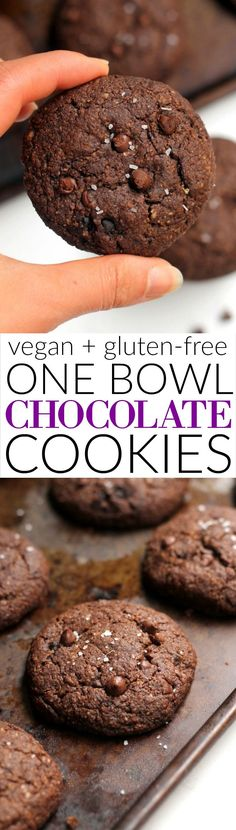 These decadent Double Chocolate Cookies are packed with whole grains and made with one bowl! They're completely vegan and gluten-free and have zero butter, refined flour, and refined sugar. Crisp on the edges and soft on the inside, they're the perfect treat.