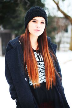 Love her hat, tee and coat.  MOSTLY her dip-dyed, ombre hair!