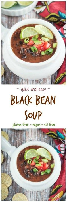 Easy Black Bean Soup - made with pantry ingredients and ready in just 30 minutes. This cozy meatless soup is hearty and delicious and sure to become a family favorite. My kids love it with macaroni noodles. Soup Recipes, Vegetarian Recipes, Dinner Recipes, Healthy Recipes, Healthy Soup, Delicious Recipes, Cooking Recipes, Yummy Food, Easy Black Bean Soup
