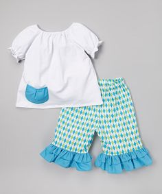 Another great find on #zulily! Blue Pocket Top & Capri Pants - Infant, Toddler & Girls by Molly Pop Inc. #zulilyfinds