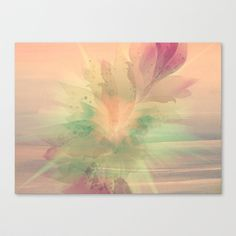 Peach Pastel Color Burst Abstract Canvas Print by Judy Palkimas - $85.00